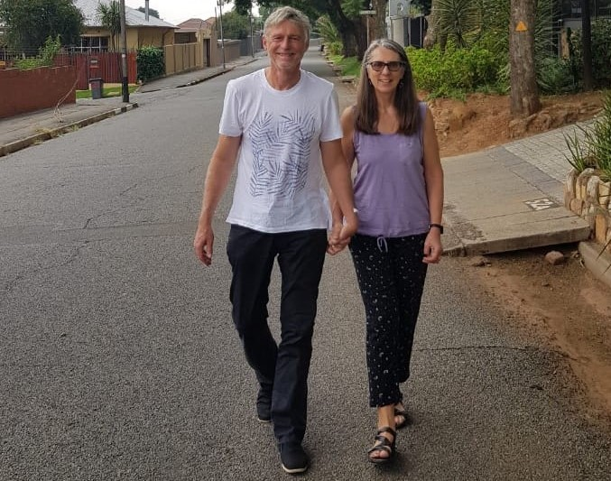 Mish and Colleen walking the day after his prostate was removed