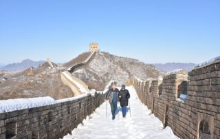 Photo of my wife and me hiking the Great Wall in midinter
